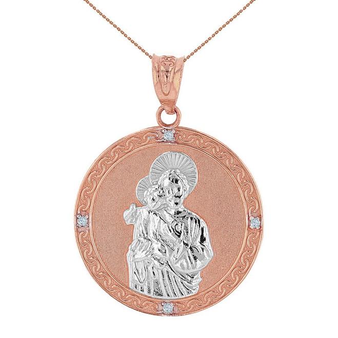 "Two Tone Solid Rose Gold Saint Joseph Diamond Medallion Pendant Necklace  1.15"" ( 29 mm)"