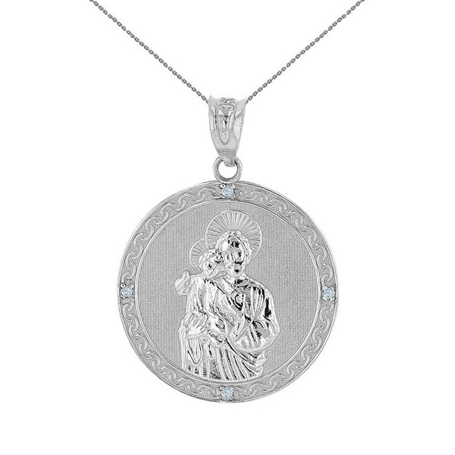 "Solid White Gold Saint Joseph Diamond Medallion Pendant Necklace  1.04"" ( 26 mm)"