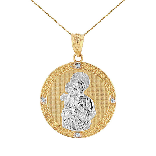 "Two Tone Solid Yellow Gold Saint Joseph Diamond Medallion Pendant Necklace  1.04"" ( 26 mm)"