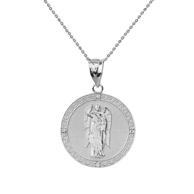 """Solid White Gold Archangel Saint Gabriel Diamond Medallion Pendant Necklace   1.02""""  (25 mm )"""