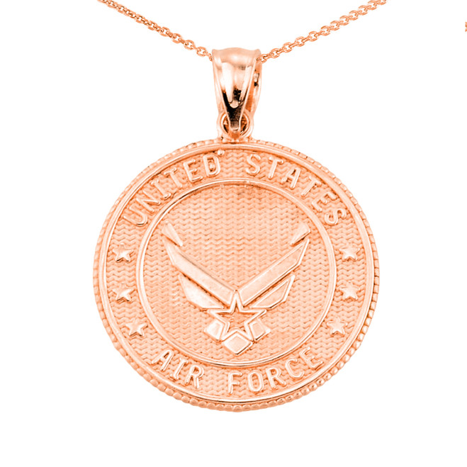 US Air Force Rose Gold Coin Pendant Necklace