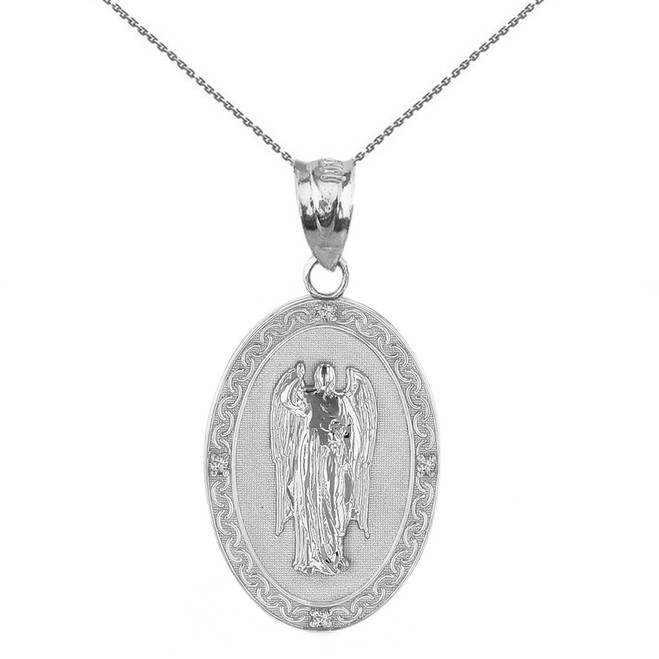 "Solid White Gold Archangel Saint Gabriel Diamond Oval Medallion Pendant Necklace  1.02"" (25 mm)"