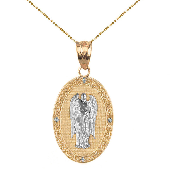 "Two Tone Solid Yellow Gold Archangel Saint Gabriel Diamond Oval Medallion Pendant Necklace  1.02"" (25 mm)"