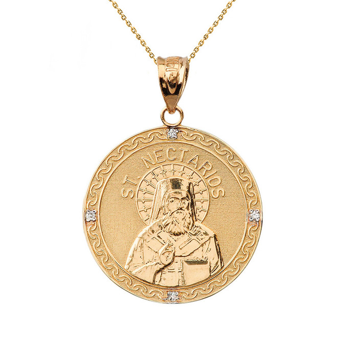"Solid Yellow Gold Greek Orthodox Saint Nectarios of Aegina Engravable Diamond Medallion Pendant Necklace  1.16 "" (29 mm)"