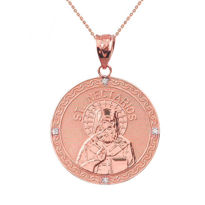 "Solid Rose Gold Greek Orthodox Saint Nectarios of Aegina Engravable Diamond Medallion Pendant Necklace  1.16 "" (29 mm)"