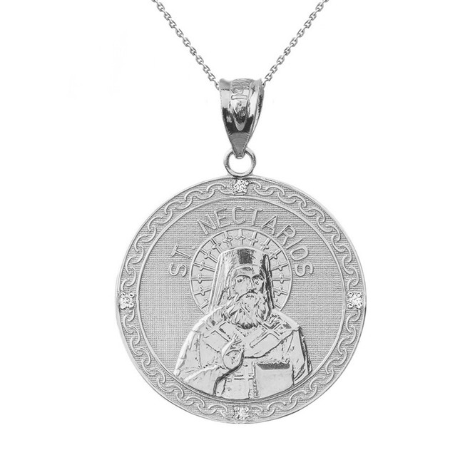"Solid White Gold Greek Orthodox Saint Nectarios of Aegina Engravable Diamond Medallion Pendant Necklace  1.16 "" (29 mm)"