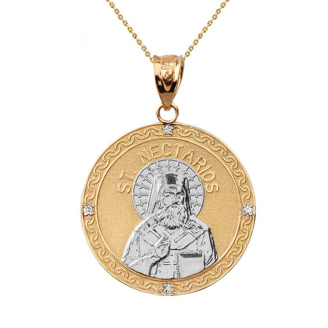 "Two Tone Solid Yellow Gold Greek Orthodox Saint Nectarios of Aegina Engravable Diamond Medallion Pendant Necklace  1.16 "" (29 mm)"