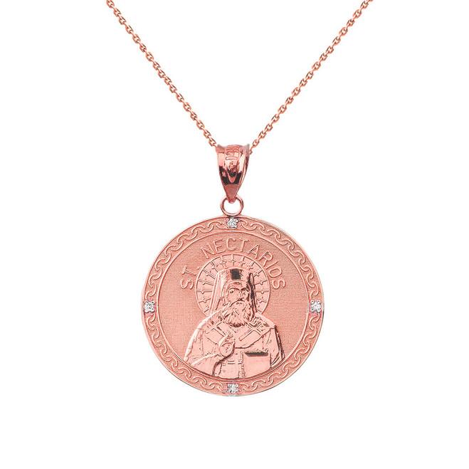 "Solid Rose Gold Greek Orthodox Saint Nectarios of Aegina Engravable Diamond Medallion Pendant Necklace  1.01"" (25 mm)"