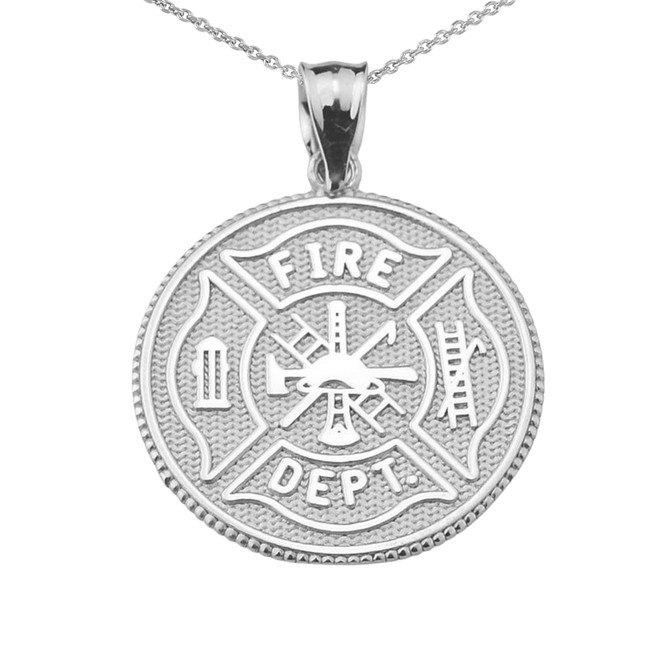 Solid White Gold US Firefighter Maltese Cross Pendant Necklace