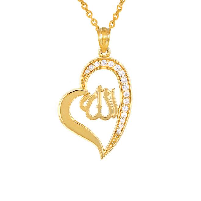 Yellow Gold Diamond Allah Heart Pendant Necklace
