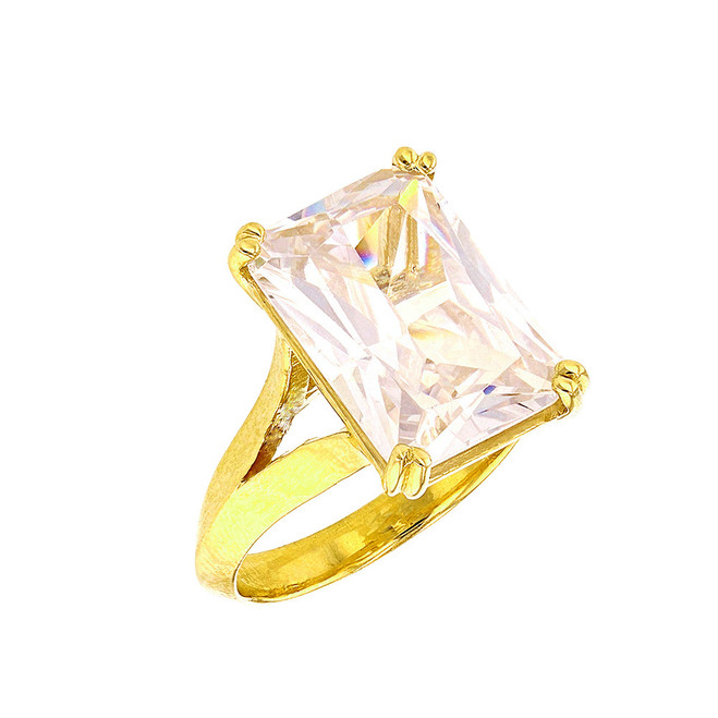 Yellow Gold Solitaire Octagon Radiant Emerald Cut Cubic Zirconia Engagement Ring