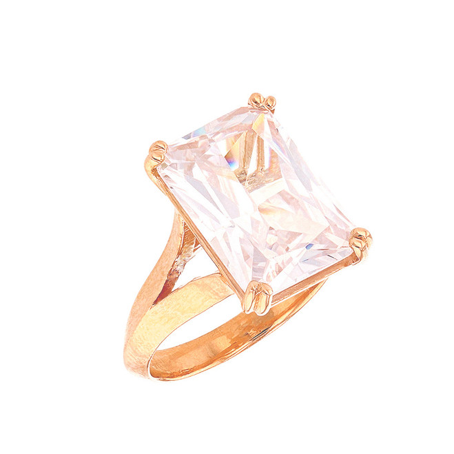 Rose Gold Solitaire Octagon Radiant Emerald Cut Cubic Zirconia  Engagement Ring