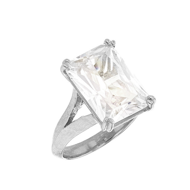 Sterling Silver Solitaire Octagon Radiant Emerald Cut Cubic Zirconia  Engagement Ring