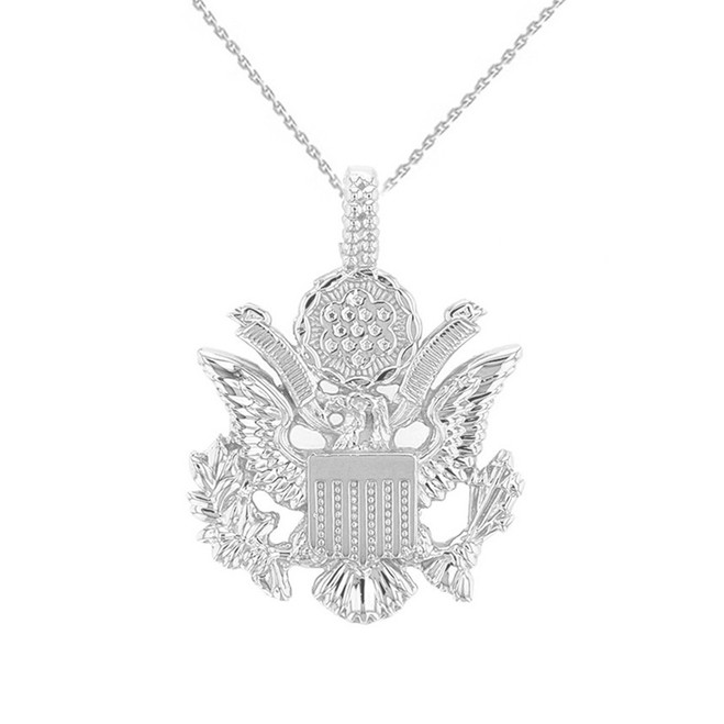 Sterling Silver American Eagle Coat of Arms Pendant Necklace