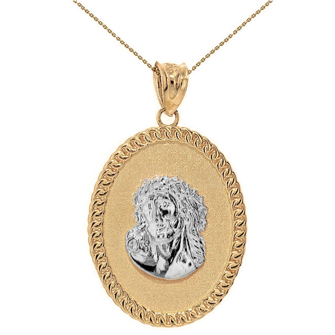 "Two Tone Solid Yellow Gold Jesus Christ the Lord Cuban Curb Link Frame Oval Medallion Pendant Necklace 1.27"" ( 32 mm)"