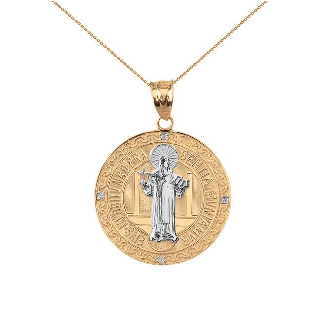 "Two Tone Solid Yellow Gold Saint Benito Engravable Diamond Medallion Pendant Necklace  1.03"" ( 26 mm)"