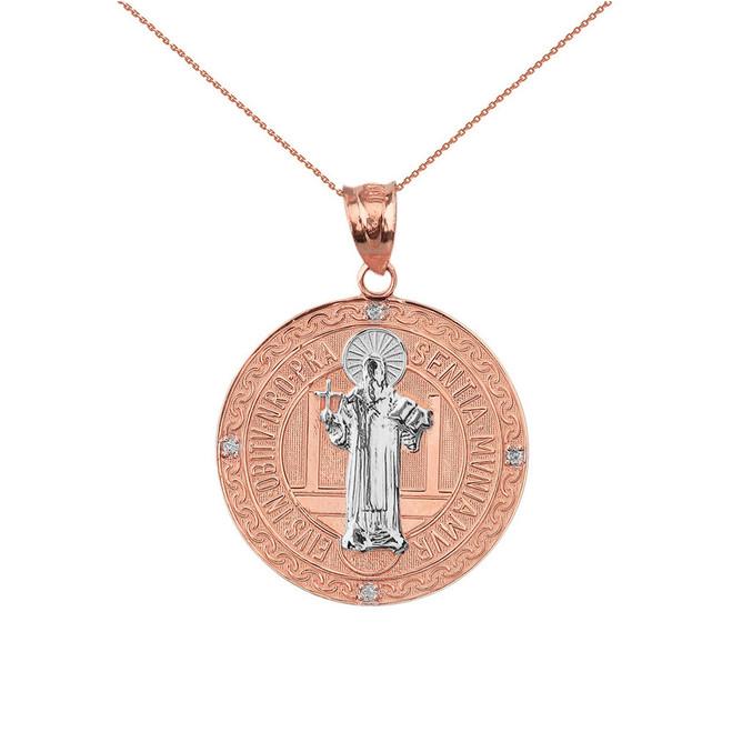 "Two Tone Solid Rose Gold Saint Benito Engravable Diamond Medallion Pendant Necklace  1.03"" ( 26 mm)"