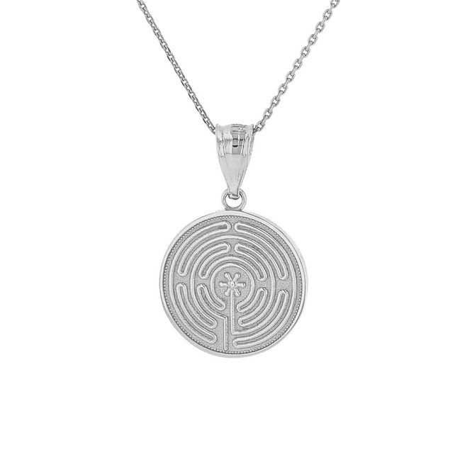 Sterling Silver Chartres Labyrinth Dainty Disc Medallion Pendant Necklace