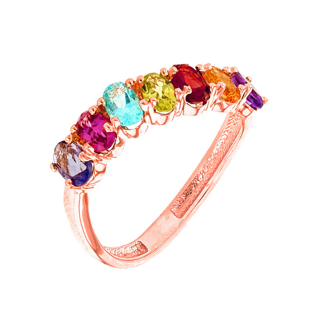 Rose Gold Wavy Stackable Multi-Colored Ring