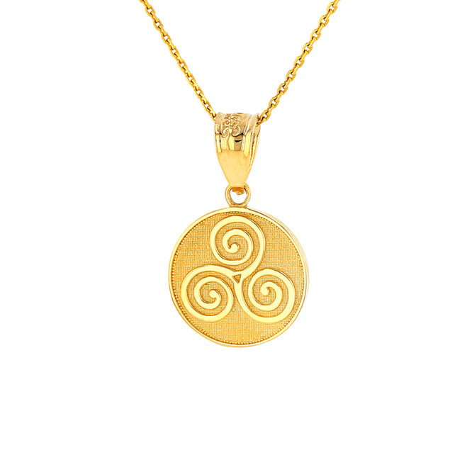 Solid Yellow Gold Celtic Triple Spiral Triskele Irish Knot Disc Medallion Pendant Necklace