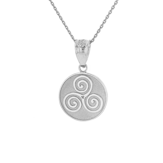 Sterling Silver Celtic Triple Spiral Triskele Irish Knot Disc Medallion Pendant Necklace