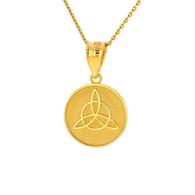 Solid Yellow Gold Triquetra Irish Celtic Disc Circle Pendant Necklace