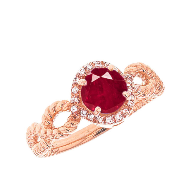 Rose Gold Infinity Rope Diamond and (LCR)  Ruby Engagement Ring