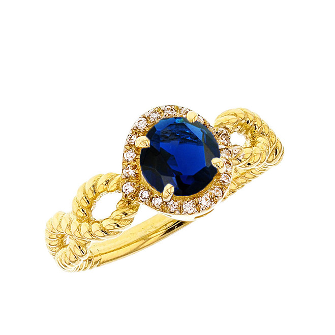 Yellow Gold Infinity Rope Diamond and (LCS) Sapphire Engagement Ring