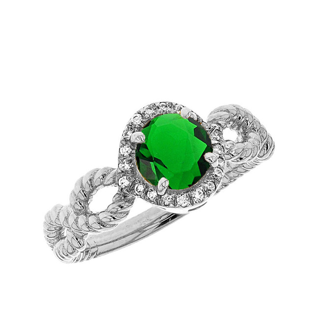 White Gold Infinity Rope Diamond and (LCE) Emerald Engagement Ring