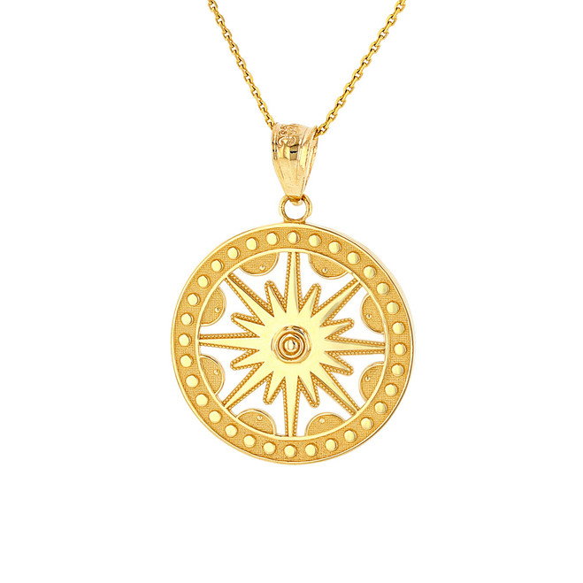 Solid Yellow Gold Textured Medallion Openwork Flaming Sun Pendant Necklace