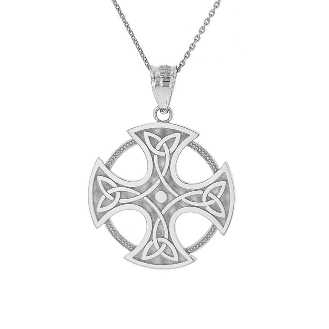 Solid White Gold Trinity Knot Celtic Cross Pendant Necklace