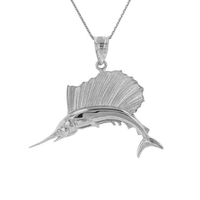 Sterling Silver Marlin Swordfish Pendant Necklace