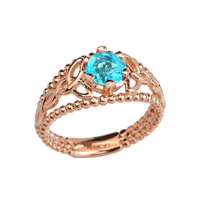 Rose Gold Genuine Blue Topaz Beaded Celtic Trinity Knot Engagement/Promise Ring