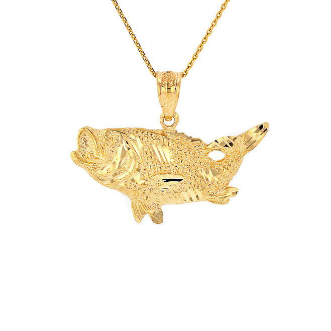 Solid Yellow Gold Diamond Cut  Big Game Fishing Bass Fish Pendant Necklace