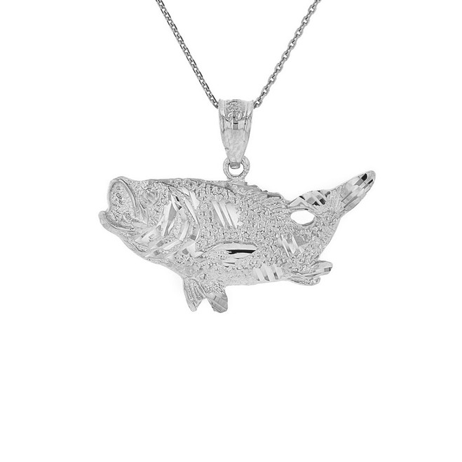 Solid White Gold Diamond Cut  Big Game Fishing Bass Fish Pendant Necklace