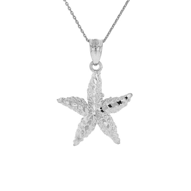 Solid White Gold Diamond Cut Starfish Sea Star Pendant Necklace