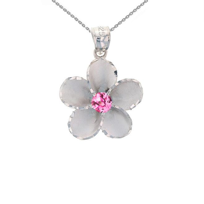 Sterling Silver Hawaiian Plumeria Pink CZ Pendant Necklace