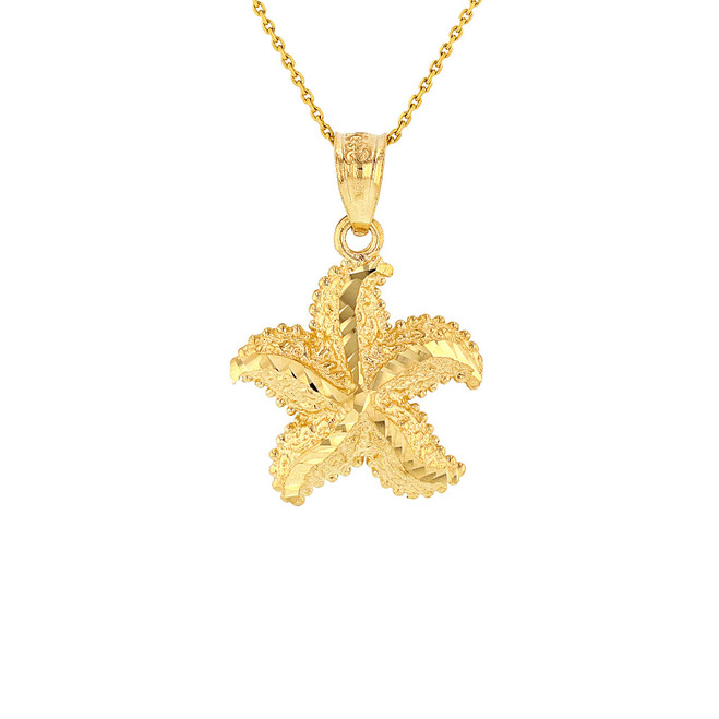 Solid Yellow Gold Diamond Cut Ocean Starfish Pendant Necklace