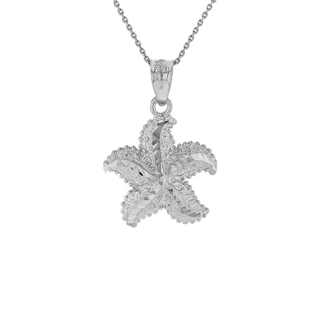 Sterling Silver Diamond Cut Ocean Starfish Pendant Necklace