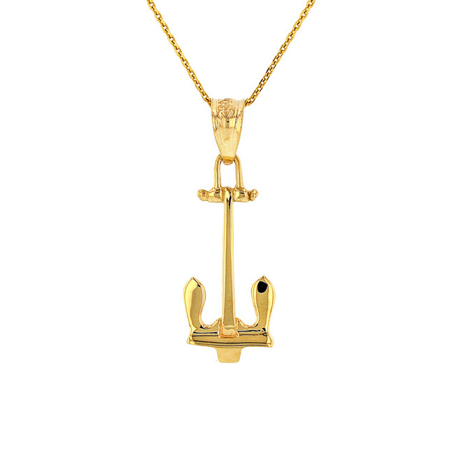 Solid Yellow Gold U.S Navy Stockless Anchor Pendant Necklace
