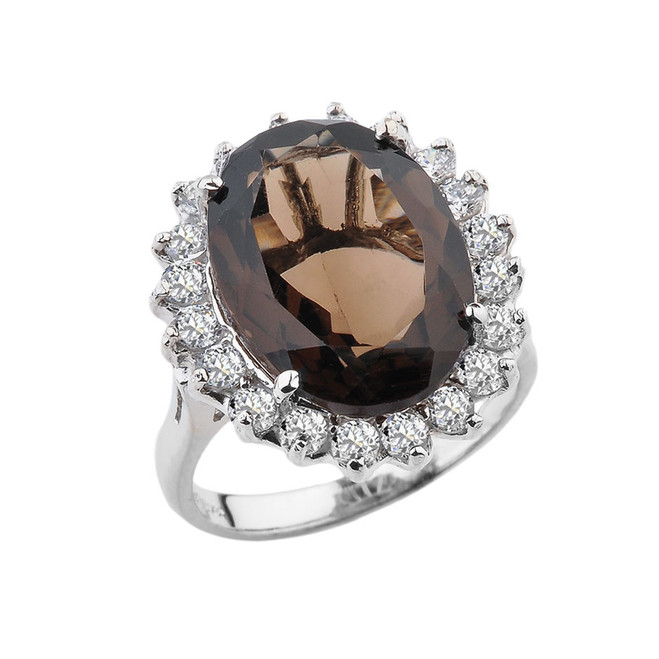 Over 20 CT Sterling Silver Smoky Quartz and CZ Ring