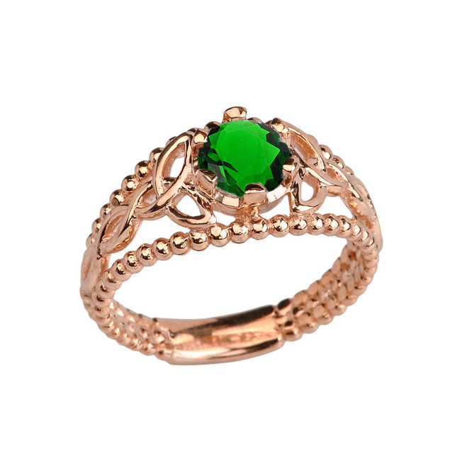 Rose Gold Lab Created Emerald Beaded Celtic Trinity Knot Engagement/Promise Ring