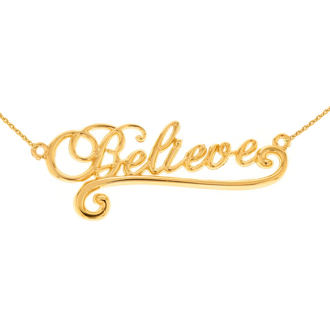14k Solid Yellow Gold Inspirational Words Cursive Believe Pendant Necklace