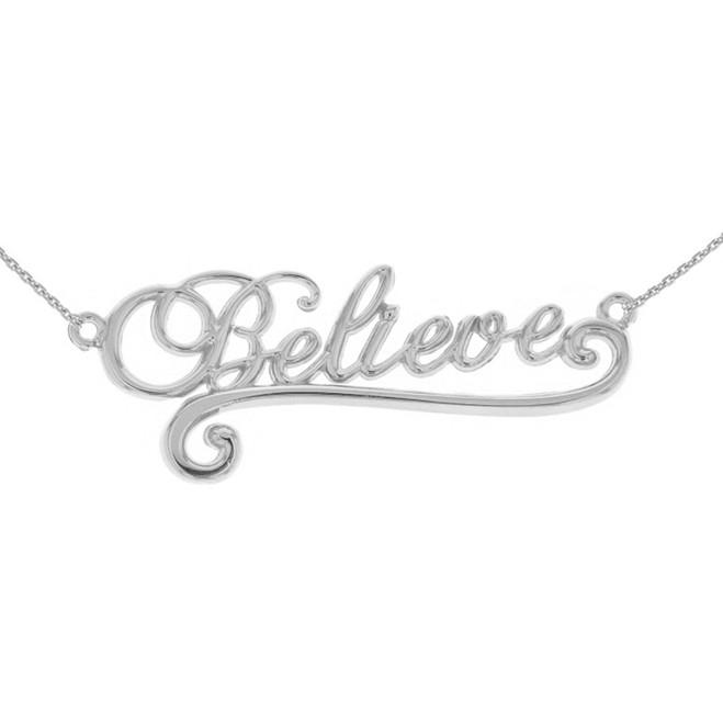 14K Solid White Gold Inspirational Words Cursive Believe Pendant Necklace