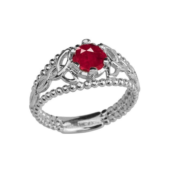 Sterling Silver Lab Created Ruby Beaded Celtic Trinity Knot Engagement/Promise Ring