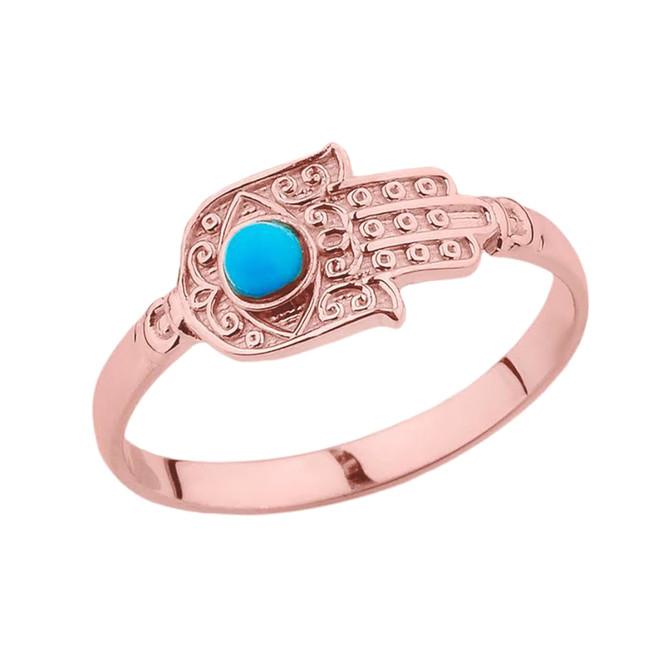 Rose Gold Turquoise Stone Hamsa Hand Ring