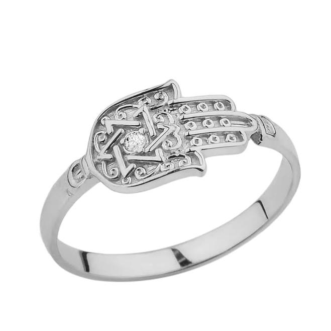 Sterling Silver Diamond Star of David Hamsa Hand Ring