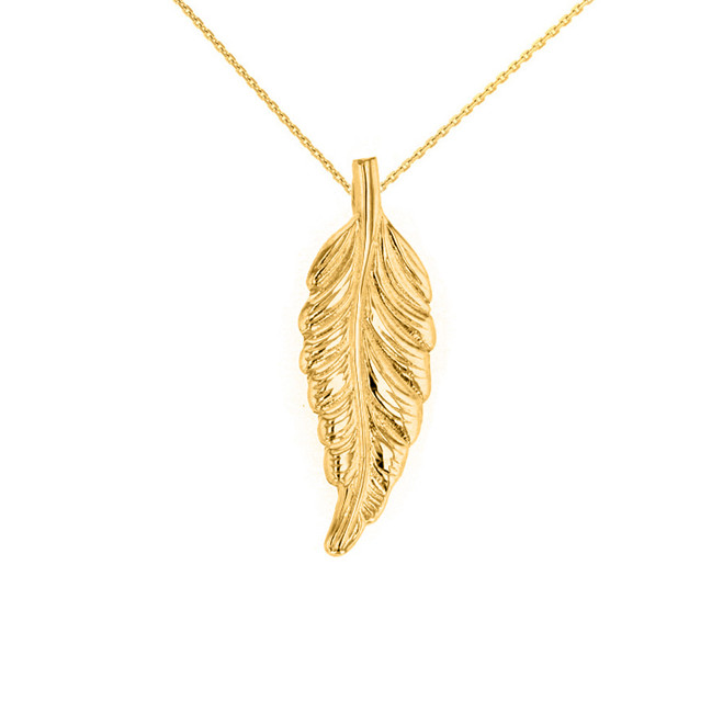 Solid Yellow Gold Bohemia Boho Feather Pendant Necklace