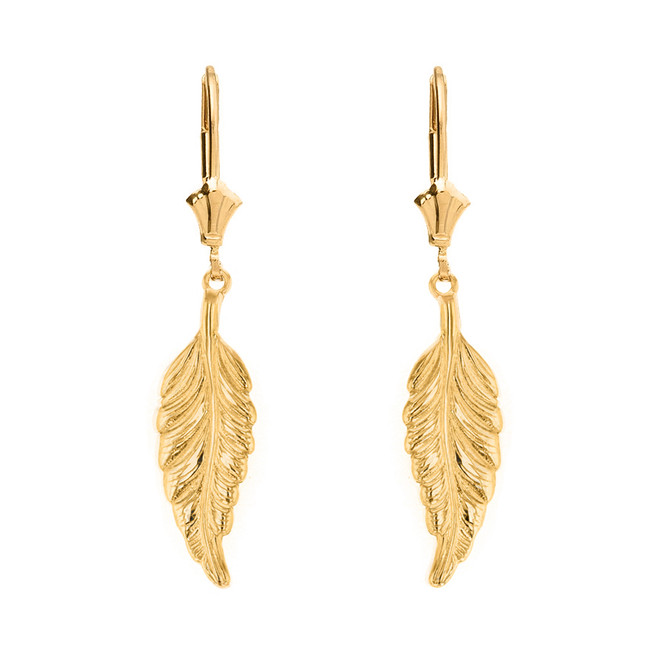 Solid Yellow Gold Bohemia Boho Feather Drop Earring Set