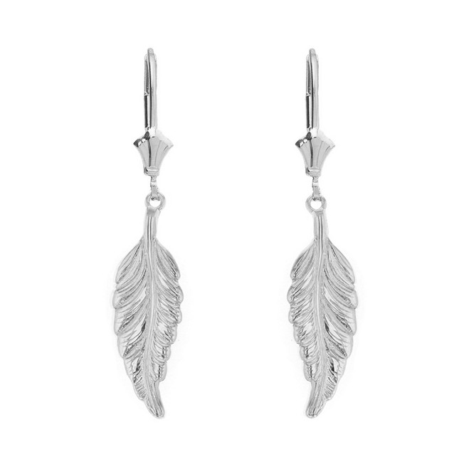 Sterling Silver Bohemia Boho Feather Drop Earring Set